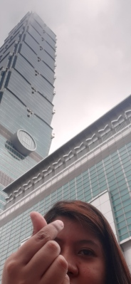Selfie outside Taipei 101