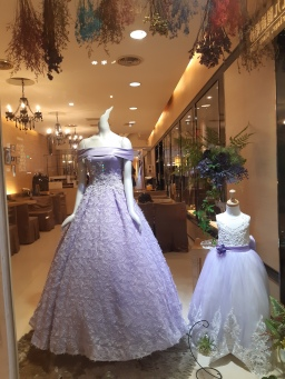 Another purple gown with matchy for a flower girl