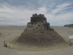 Love River sand sculpture